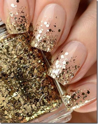 Chunky Gold Glitter Nails