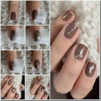 Cocoa Gold Glitter Nails