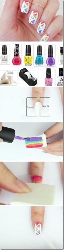 Geometric Rainbow Patterns Nail Art Tutorial