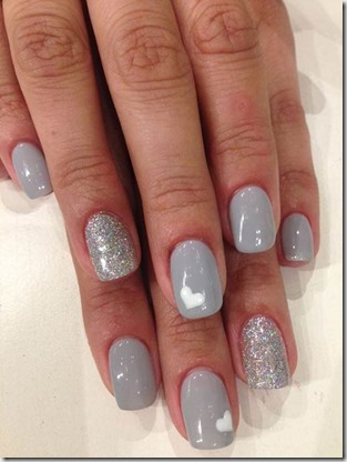 Gray And Silver Glitter Nails