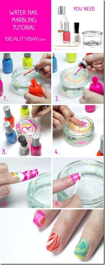 Neon Marbled Nail Art