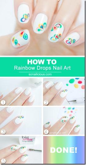 Rainbow Drop Marble Nail Art Tutorial