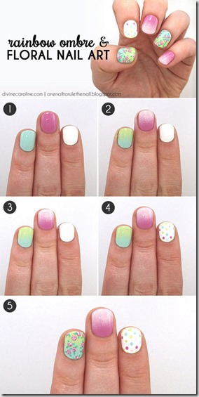 Rainbow Ombre & Floral Nail Art Tutorial