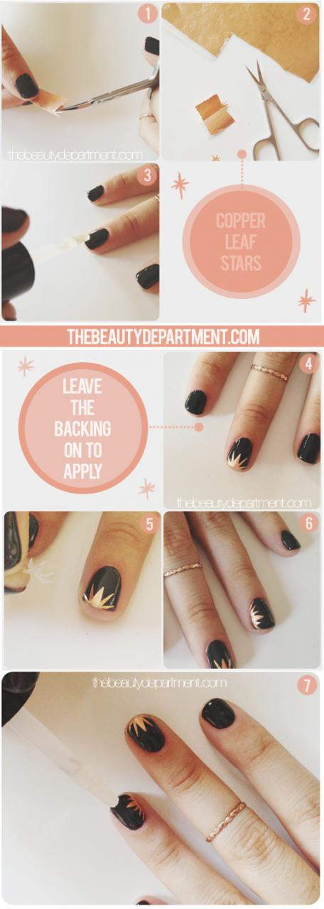 Copper Leaf Starburst Mani Nail Art Tutorial