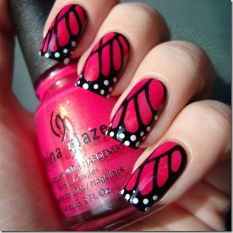 4.Butterfly nail art