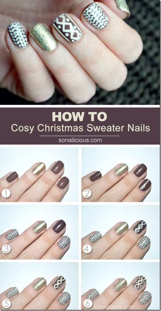 Christmas Sweater Nail Art Tutorial