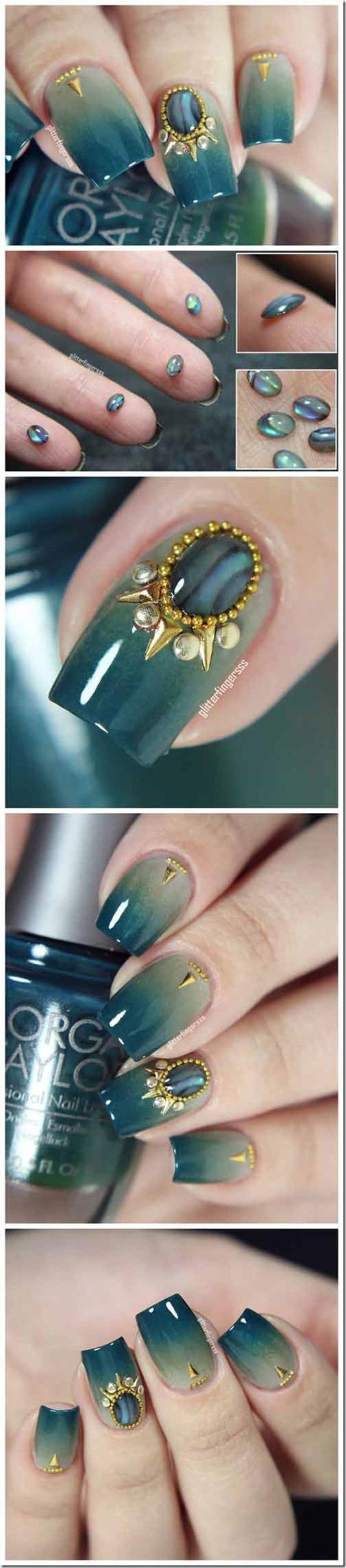 Emerald-Toned 3D Nails