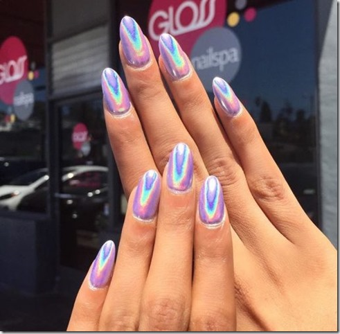 Holographic Solid Color Chrome Nail Art