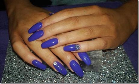 Minimal Beaded Blue Acrylic Nails