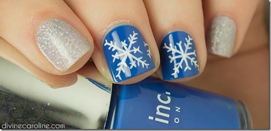 Silver And Snowflakes Nail Art